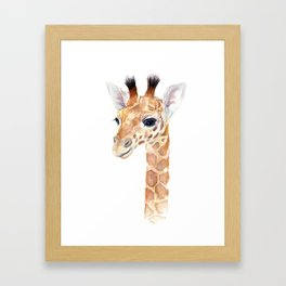 Baby Giraffe Cute Animal Watercolor Framed Art Print