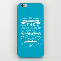 bible verses iPhone & iPod Skins featuring Typographic Motivational Bible Verses - John 10:11 by The Wooden Tree