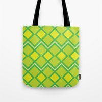 lime green Tote Bags featuring Green Lime Square Pattern by FlowerPot