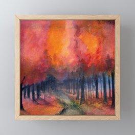 Nighttime Autumn Landscape Nature Art Framed Mini Art Print