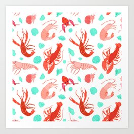 Dance of the Crustaceans in Pearl White Art Print