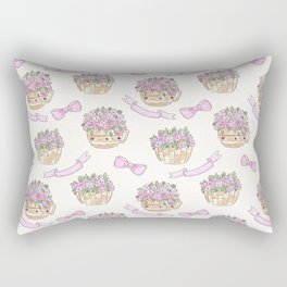 Watercolor . The flowers in the basket . Rectangular Pillow