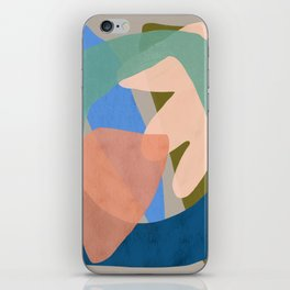 Shapes and Layers no.30 - Large Organic Shapes Blue Pink Green Gray iPhone Skin