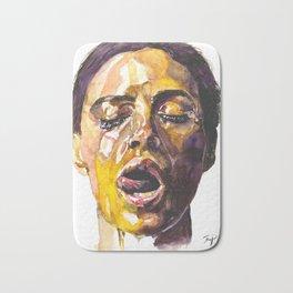 Watercolor painting of Monica Bellucci, Monica Bath Mat