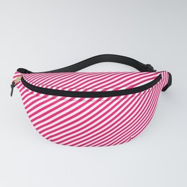 Mini Hot Neon Pink and White Candy Cane Stripes Fanny Pack