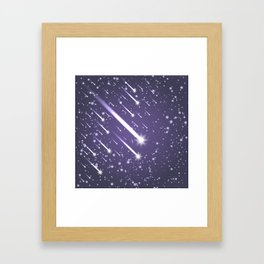 Flying meteors. Ultra violet. Framed Art Print