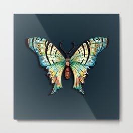 Watercolor Butterfly on Teal Green 1 Metal Print