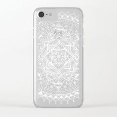 White Flower Mandala on Black Clear iPhone Case
