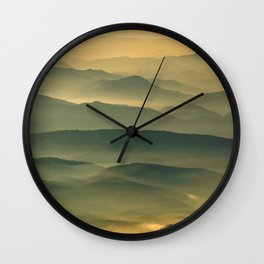 Foggy Mountain Layers at Sunset Rural / Rustic Landscape Photograph Wall Clock