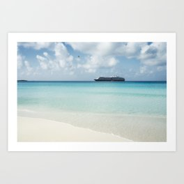 Beautiful sand beach with crystal clear water and cruise ship anchored, Bahamas Art Print