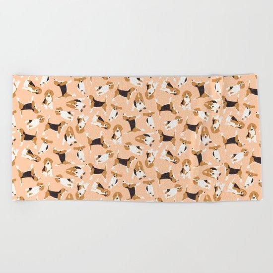 beagle scatter peach Beach Towel