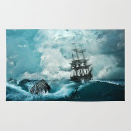Shipwreck in storm Rug