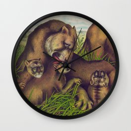 Vintage Illustration of a Lion Family (1874) Wall Clock
