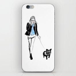 Frenchie walker iPhone Skin