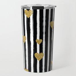 Gold Glitter Hearts Black and White Stripes Travel Mug