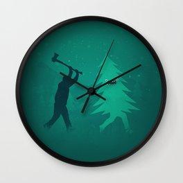 Funny Christmas Tree Hunted by lumberjack (Funny Humor) Wall Clock