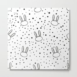 Cute bunny or rabbit and black and white easter pattern with bunny dots Metal Print