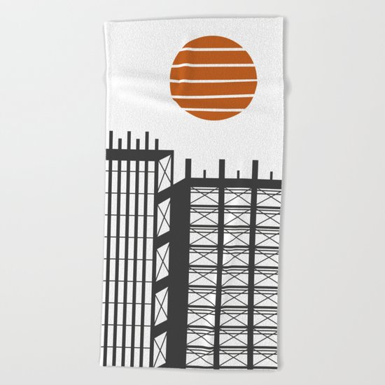 City in construction Beach Towel
