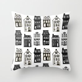 Mansard Mansions in Black + White Watercolor Throw Pillow