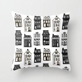 Mansard Mansions in Black + White Watercolor Throw Pillow