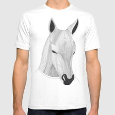 -Horse- White Mens Fitted Tee MEDIUM