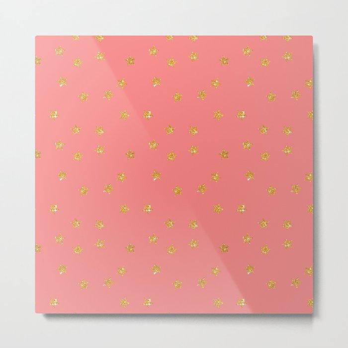 Modern coral faux gold glitter starry pattern Metal Print