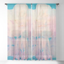 Rotation - Botanical Surrealism Blue Beige Sheer Curtain