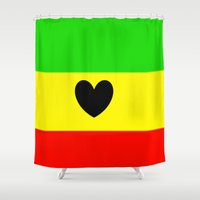 rasta Shower Curtains featuring Love Rasta  by shannon's art space