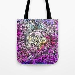 Modern black handdrawn floral mandala nebula paint Tote Bag
