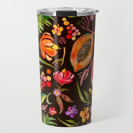 Tropical Fruit Festival in Black | Frutas Tropicales en Negro Travel Mug