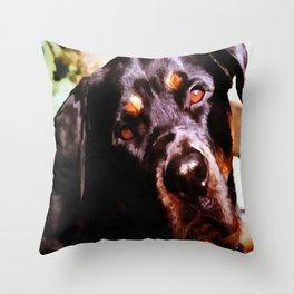 Rottweiler Dog Artistic Pet Portait Throw Pillow