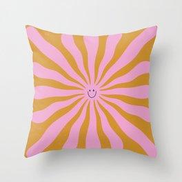 Cute Retro Sun Face  Throw Pillow