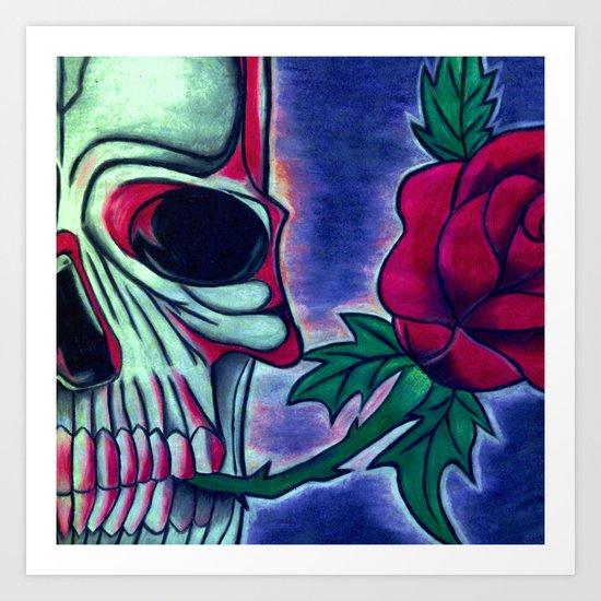 Skull & Red Rose Art Print