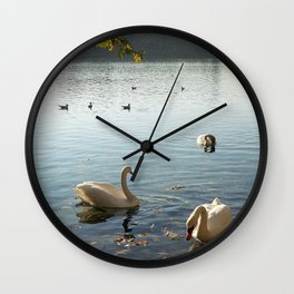 Swans in Autumn Wall Clock