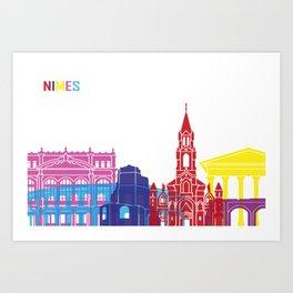 Nimes skyline pop Art Print