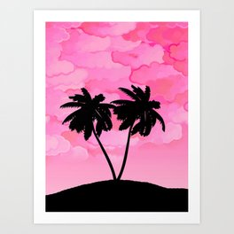 Palm Tree Silhouette Against Dawn Pink with Clouds Art Print