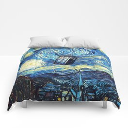 Tardis Starry Night Art Painting Comforters