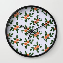 Oranges and leaves - illustration Wall Clock