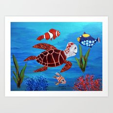 Swimming in the sea  Art Print