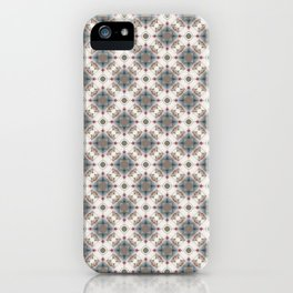 Brown and Blue Geometric - Squares and Circles iPhone Case