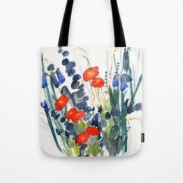 Eucalyptus & Iris with Vermillion Tote Bag