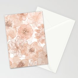 Flowers and Lace- Floral pattern in pink Stationery Cards