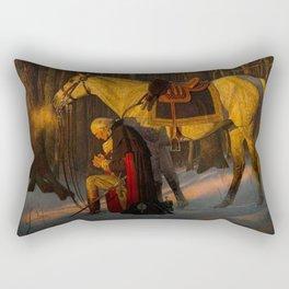 George Washington Praying Rectangular Pillow