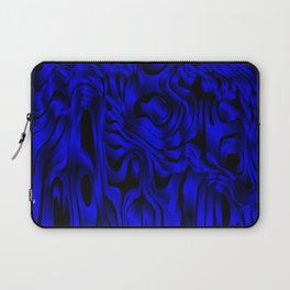 Magical flowing blue avalanche of lines with dark. Laptop Sleeve