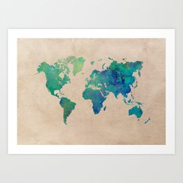 world map 95 green #worldmap #map Art Print