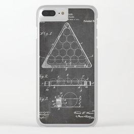 Pool Patent - Billiards Art - Black Chalkboard Clear iPhone Case