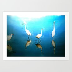 EGRET ENCOUNTER Art Print