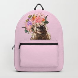 Highland Cow with Flowers Crown in Pink Backpack