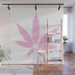 Pink Cannabis Leaf Wall Mural