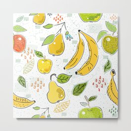 Cute Seamless Pattern with Apples, bananas and Pears. Scandinavian Hand Drawn Style. Metal Print